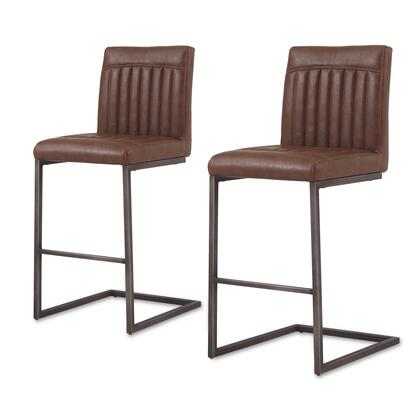1060008-215 Ronan PU Leather Counter Stool Set of 2  in Antique Cigar