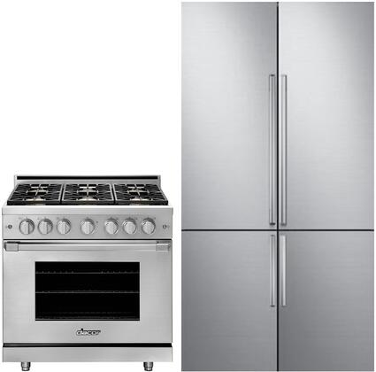 2 Piece Kitchen Appliances Package with DRF427500AP 42″ French Door Refrigerator and HGPR36SNG 36″ Gas Range in Stainless
