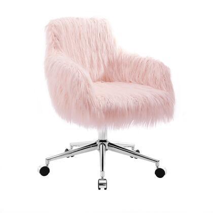 Linon Fiona OC050FLOK01U Office Chair, OC050FLOK01U FIONA OFFICE CHAIR CHROME BASE