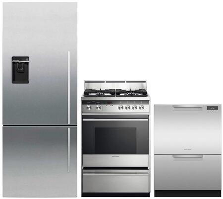 """3 Piece Kitchen Appliances Package with RF135BDLUX4N 25"""" Bottom Freezer Refrigerator OR24SDMBGX2N 24"""" Gas Range and DD24DCHTX9N 24"""" Double Drawer"""