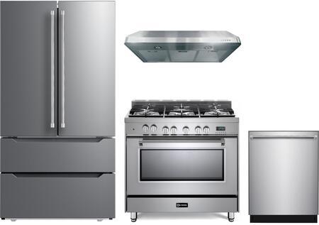 4 Piece Kitchen Appliances Package with VERF36CDSS 36″ French Door Refrigerator  VPFSGE365SS 36″ Dual Fuel Range  VEHOOD3610 36″ Under Cabinet Range