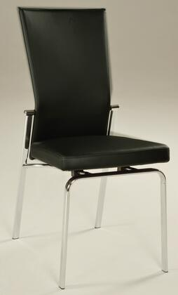 MOLLY-SC-BLK-LTH Contemporary Motion-Back Leather Upholstered Side Chair with Top Grain Leather Upholstery in
