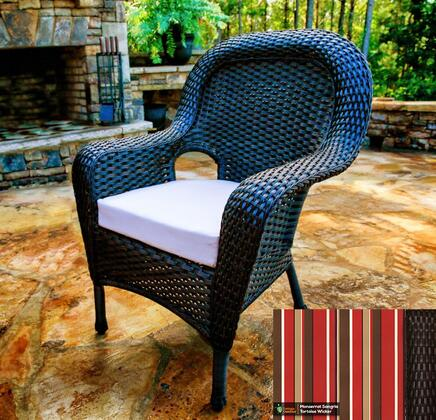 Sea Pines Collection LEX-DC-T-MONS Dining Chair in Tortoise Wicker and Monserrat Sangria Fabric