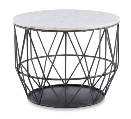 D1240A19S Anderson Collection  Silver Wire Side Table with 24″ Diameter Tabletop and Premium Marble Top in