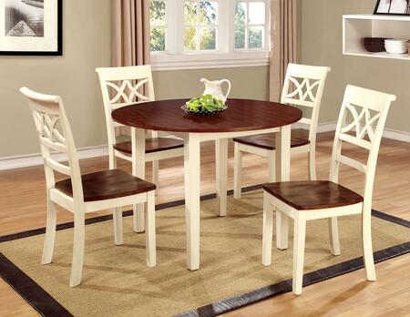 Furniture of America Dover II CM3326WCRT4SC Dining Room Set White, main image
