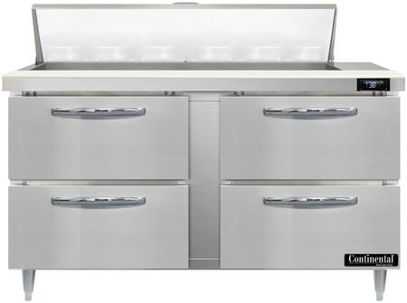 Continental Refrigerator Designer Line D60N12D Prep Refrigerator Stainless Steel, D60N12-D Standard Top Sandwich Unit Refrigerator