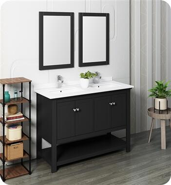 Manchester Collection FVN2348BL-D 48″ Black Traditional Double Sink Bathroom Vanity with