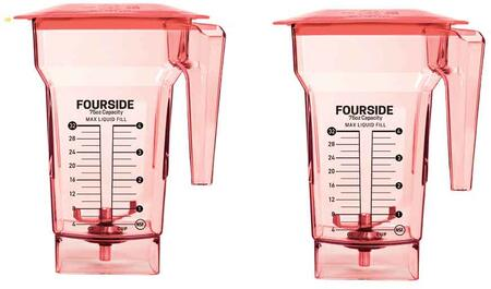 40-710-07 (Pack of 2) 75 oz. Red FourSide Blender Jar with Hard Lids and 3″ Wingtip