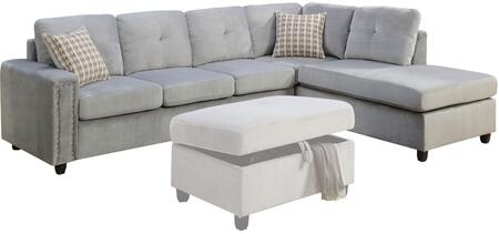 Acme Furniture Belville 52710 Sectional Sofa Gray, Sectional Sofa