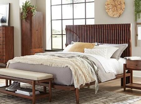 San Mateo Collection 222981Q 88.5″ Complete Queen Bed with Vertical Solid Wood Slats  Wave Movement Created with Shaped Vertical Slats in Headboard