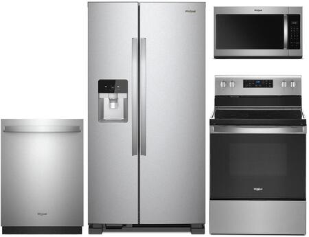 """4-Piece Stainless Steel Kitchen Package with WRS321SDHZ 33"""""""" Side-by-Side Refrigerator  WFE525S0HS 30"""""""" Freestanding Electric Ranges  WDT730PAHZ 24"""""""" Fully -  Whirlpool, 930179"""