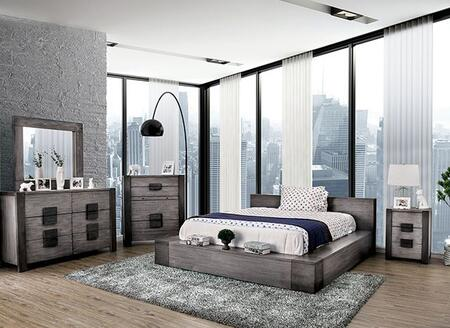 Furniture of America Janeiro CM7628GYCKBEDNSCHDRMR Bedroom Set Gray, CM7628GY-CK-BED-NSCHDRMR