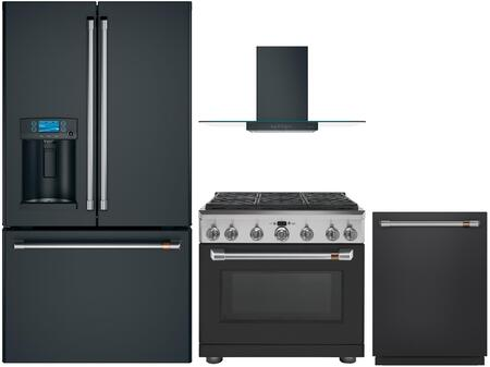 4 Piece Kitchen Appliances Package with CFE28TP3MD1 36″  French Door Refrigerator  CGY366P3MD1 36″ Gas Range  CVW73613MDS 36″ Wall Mount Convertible