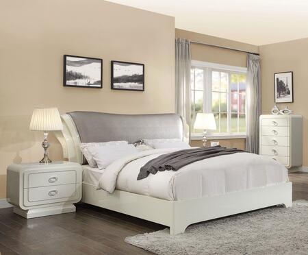 Acme Furniture Bellagio 20390Q4SET Bedroom Set White, 4 PC Bedroom Set