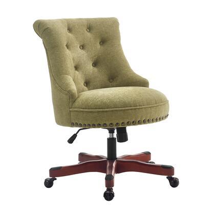 Linon Sinclair 178403GRN01U Office Chair, 178403GRN01U Sinclair Office Chair Green Dark Walnut Wood Base