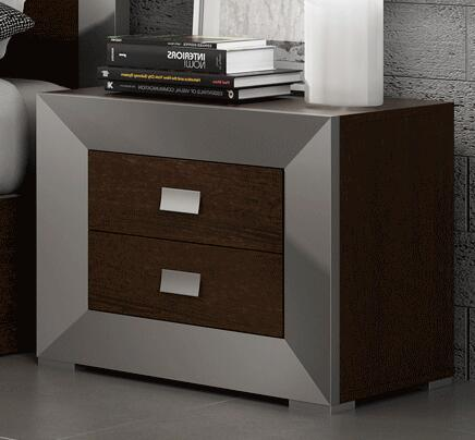 203NS 21″ Nightstand with Wenge-Silver  Simple Pulls and Wood