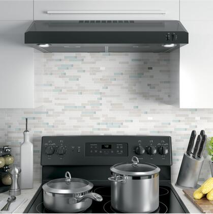 """JVX5305DJBB 30"""" Under Cabinet Convertible Hood with 240 CFM Venting System 2 Speeds Vertical and Rear Exhaust and Dual LED Lighting in"""