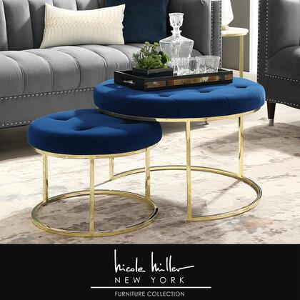 Aaden Collection NON106-02NG-AC Ottoman with Glam Style  Stainless Steel Polished Base and Velvet Upholstery in Navy and Gold