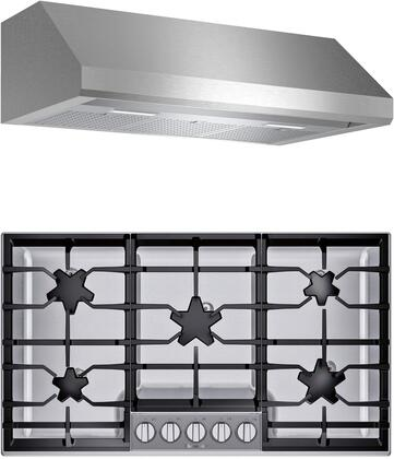 2 Piece Kitchen Appliances Package with SGSP365TS 36″ Gas Cooktop and HMWB36WS 36″ Wall Mount Convertible Hood in Stainless