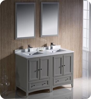 Oxford Collection FVN20-2424GR 48″ Grey Traditional Double Sink Bathroom