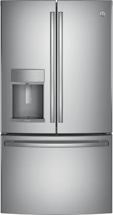 GE Profile PFE28KYNFS French Door Refrigerator Stainless Steel, PFE28KYNFS Front View