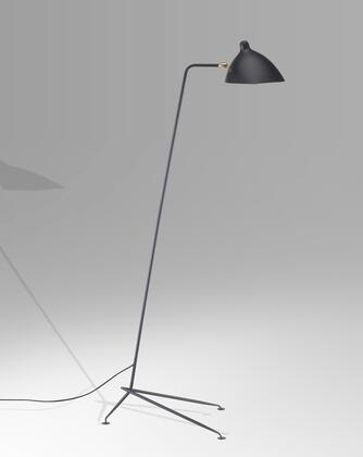 BEL22BLK 1-Light Floor Lamps with Steel and Aluminum Materials and 40 Watts in Black