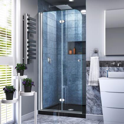 DL-6529C-88-01 Aqua Fold 32″ D x 32″ W x 74 3/4″ H Frameless Bi-Fold Shower Door in Chrome with Black Acrylic Base