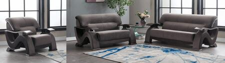 U2033-GREY-SLC 3-Piece Living Room Set with Velvet Sofa  Loveseat and Chair in