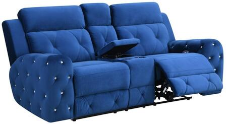 U8311-BLUE VELVET-PCRLS Power Reclining Loveseat 78″ with Posh Crystal Tufted Arms and Leek Brushed Nickel Backlit Power Button with Built in USB