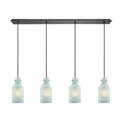 10830/3LP Hammered Glass 3 Light Linear Pan Fixture in Oil Rubbed Bronze with Hammered Mercury