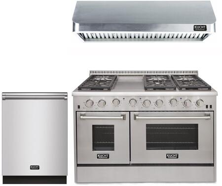 "3-Piece Kitchen Appliances Package with KRG4804ULP 48"" Gas Freestanding Range KRH4802U 48"" Under Cabinet Range Hood and K6502D 24"" Built In"
