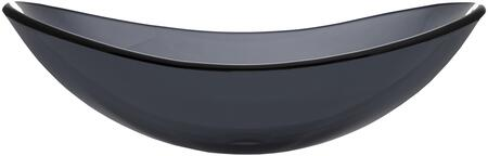 EB_GS47 21″ Canoe Vessel Sink with 1 Year Limited Warranty  Oval Shape and Tempered Glass Material in Dark Gray