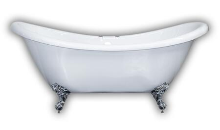 ADES-DH-CP Acrylic Double Ended Slipper Bathtub 68″ X 28″ with 7″ Deck Mount Faucet Drillings and Polished Chrome
