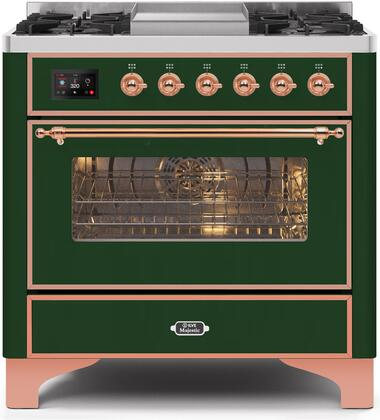 UM09FDNS3EGP 36″ Majestic II Series Dual Fuel Natural Gas Range with 6 Burners and Griddle  3.5 cu. ft. Oven Capacity  TFT Oven Control Display