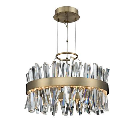 Glacier 030254-038 25″ LED Round Pendant in Brushed Champagne Gold Finish with Firenze Crystal Spears