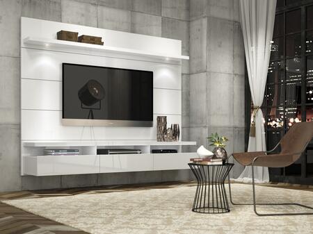 Manhattan Comfort Cabrini 1.8 23752 52 in. and Up TV Stand White, Cabrini Theater Panel   White Gloss 23352, 23252