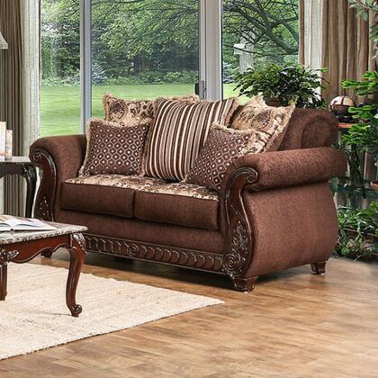 Furniture of America Tabitha SM6109LV Loveseat Brown, Main Image