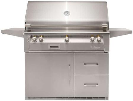 ALXE42SZR 42″ Liquid Propane Standard Grill On Refrigerated Base with Sear Zone  82500 BTU  Rotisserie  and Precision-Point Control Panel Lighting in