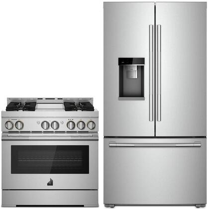 """2 Piece RISE Series Smart Kitchen Appliances Package with JFFCC72EHL 36"""" French Door Refrigerator and JGRP536HL 36"""" Gas Range in Stainless"""