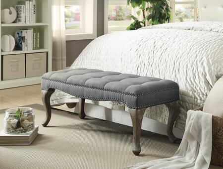 Linon Loire 368301GRY01U Bench, 368301GRY01U Loire Cabriolet Washed Gray Linen Bench Lifestyle