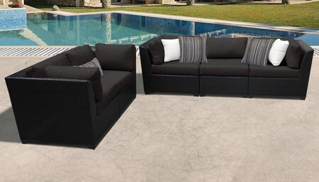 Barbados Collection BARBADOS-05a-BLACK 5-Piece Patio Set with 4 Corner Chairs and 1 Armless Chair – Wheat and Black