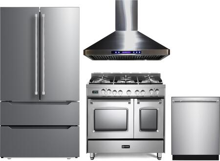 4 Piece Kitchen Appliances Package with VERF36CDSS 36″ French Door Refrigerator  VPFSGE365DSS 36″ Dual Fuel Range  VEHOOD36CH 36″ Wall Mount Range