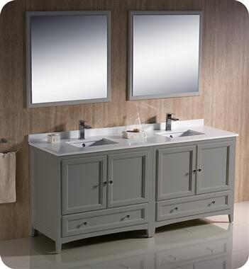 Oxford Collection FVN20-3636GR 71″ Grey Traditional Double Sink Bathroom