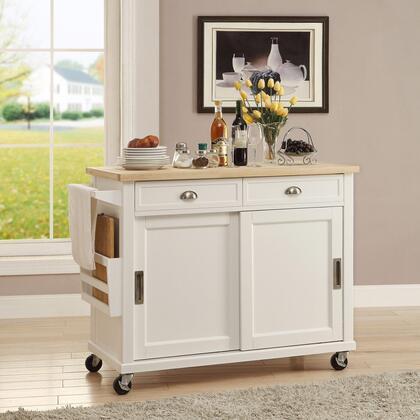 Linon Sherman K464906WHTABU Kitchen Cart, K464906WHTABU  Sherman Kitchen Cart Lifestyle