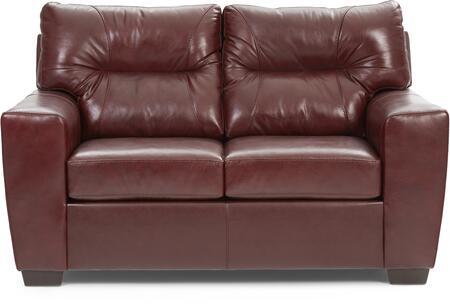 2043-02 SOFT TOUCH CRIMSON 65″ Loveseat with Tufted Back Cushions and Leather Upholstery in