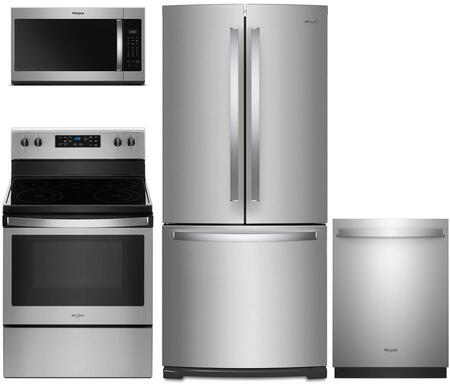 4 Piece Kitchen Appliances Package with WRF560SMHZ 30″ French Door Refrigerator  WFE505W0HZ 30″ Electric Range  WDTA50SAHZ 24″ Built In Fully