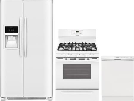 """3 Piece Kitchen Appliances Package with FFHX2325TP 33"""""""" Side by Side Refrigerator  FFGF3054TW 30"""""""" Gas Range and FFCD2413UW 24"""""""" Built In Full Console -  Frigidaire, 1101970"""