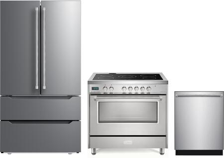 3 Piece Kitchen Appliances Package with VERF36CDSS 36″ French Door Refrigerator  VDFSEE365SS 36″ Electric Range  and VEDW24TSS 24″ Built In