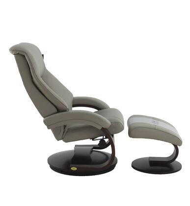 Montreal Collection MONTREAL058042PL Recliner and Ottoman with Round Swivel Base  Padded Arms  Adjustable Cervical Pillow  Memory Foam Cushion  Wood