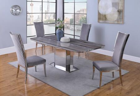 ISABEL-DT Contemporary Marble Dining Table withStainless Steel